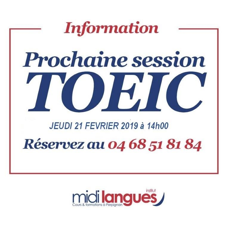 Prochaine session toeic